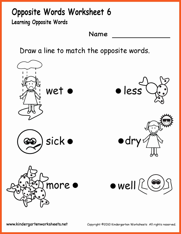 Antonyms Worksheet Kindergarten