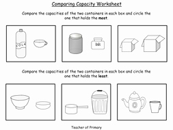 Capacity Worksheet Kindergarten