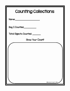 Kindergarten Counting Collections Worksheet