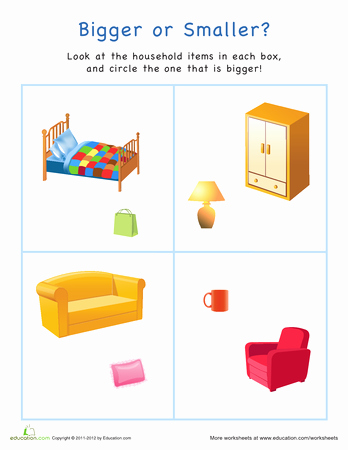 Math Worksheets for Kindergarten Big and Small or sorting and Categorizing Printable Workbook