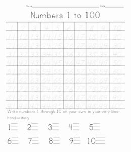 Numbers 1-50 Worksheet for Kindergarten Of 100 Days Of School Tracing Numbers 1 to 100 by Whitney