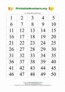 Numbers 1-50 Worksheet for Kindergarten or Free Printable Number Chart 1 50