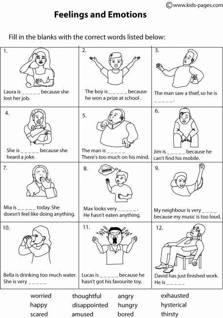 Worksheet for Kindergarten Feelings Of Kids Pages Feelings Matching 2 B