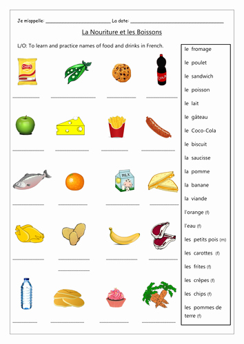 Worksheet for Kindergarten Food Of French Food and Drinks Activities Worksheets