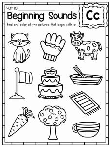 Worksheet for Kindergarten Letter C or Beginning sounds Worksheets Color by sound