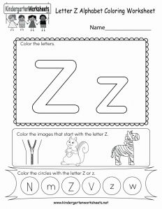 Worksheet for Kindergarten Letter Z and Letter Z Coloring Worksheet Free Kindergarten English