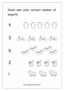 Worksheet for Kindergarten Numbers 1-5 and Math Worksheet Count and Color Correct Number Objects