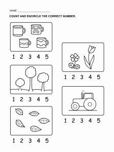 Worksheet for Kindergarten Numbers 1-5 and Tracing Numbers 1 5 for Kids
