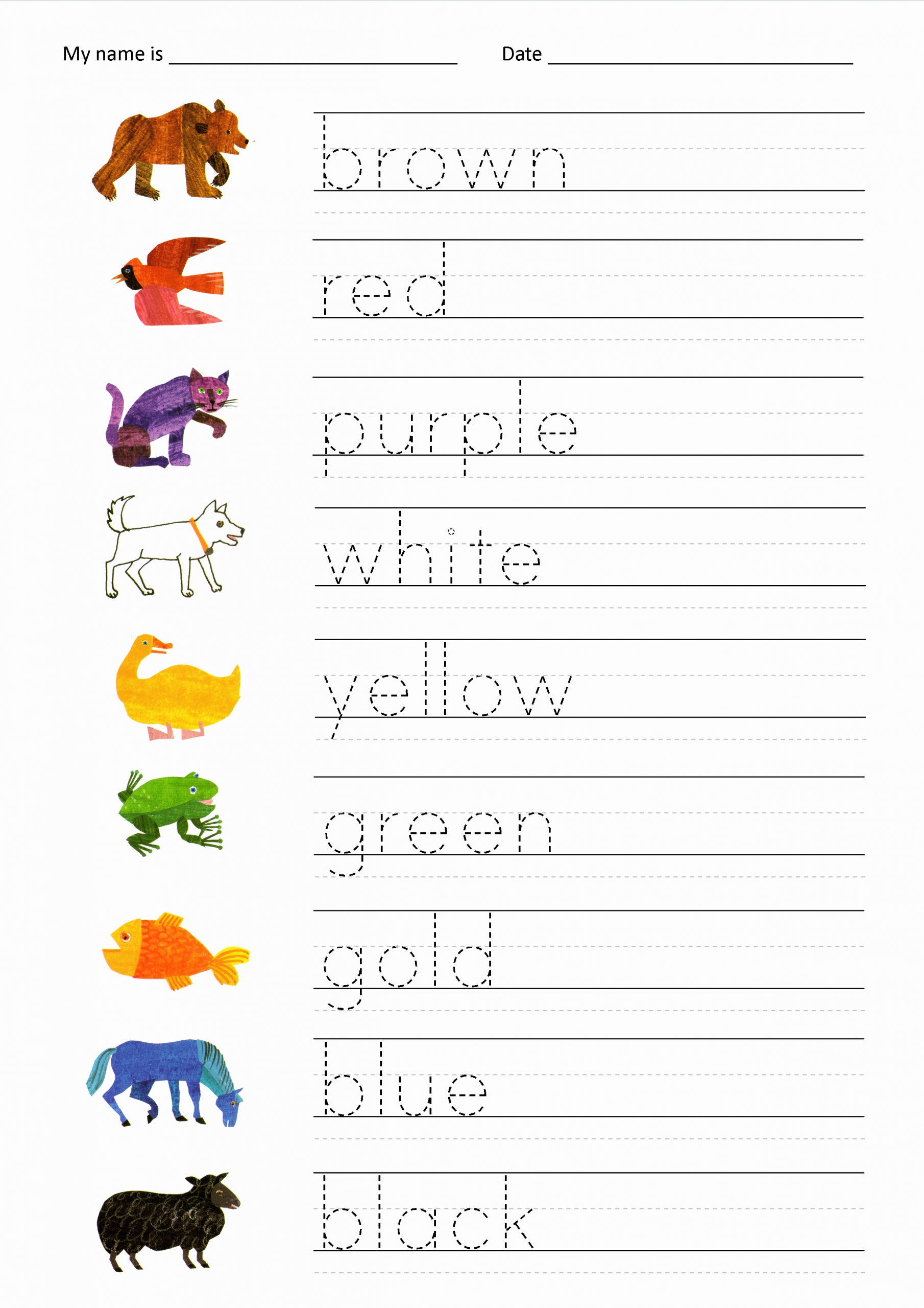 Worksheet for Kindergarten Primary Colors Of Penmanship and the Brown Bear