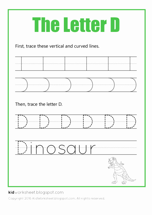 Worksheets for Kindergarten Letter D or Free Worksheet Tracing Letter D Worksheets for Kids