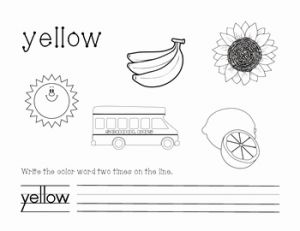 Yellow Worksheet for Kindergarten and Yellow Color and Write Worksheet by Vicky Raymond