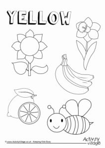 Yellow Worksheet for Kindergarten Of Yellow Things Colouring Page