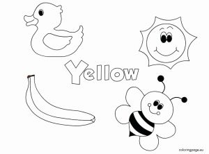 Yellow Worksheet for Kindergarten then Yellow Coloring Pages for toddlers