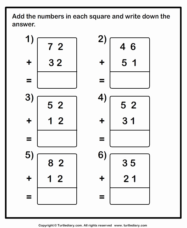 Adding 2 Digit Numbers or Adding Two Two Digit Numbers without Regrouping Worksheet
