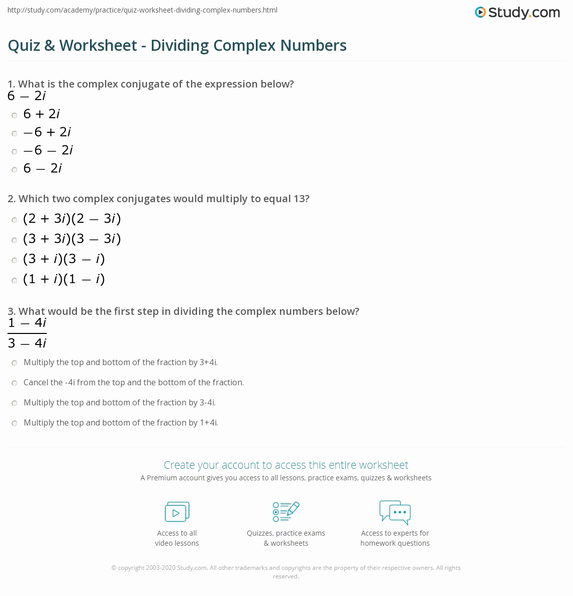 Multiplying Complex Numbers Worksheet or Quiz & Worksheet Dividing Plex Numbers