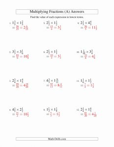 Multiplying Mixed Numbers Worksheet and Multiplying and Simplifying Mixed Fractions A