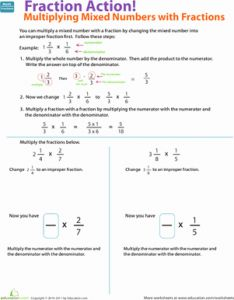 Multiplying Mixed Numbers Worksheet and Multiplying Fractions Help & Learning Resources