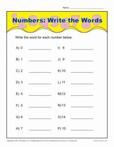 Number Words Worksheet and Write the Words that Spell the Numbers Worksheet Activity