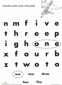 Number Words Worksheet or Number Words E to Five Worksheet