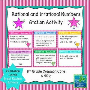 Rational Numbers Class 8 Worksheet Of Estimating Square Roots Task Cards