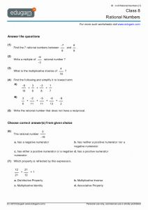 Rational Numbers Class 8 Worksheet or Class 8 Math Worksheets and Problems Rational Numbers