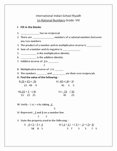Rational Numbers Class 8 Worksheet then Rational Numbers Grade 8 International Indian School 8th