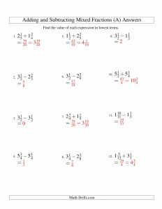 Subtracting Mixed Numbers Worksheet and Adding and Subtracting Mixed Fractions A