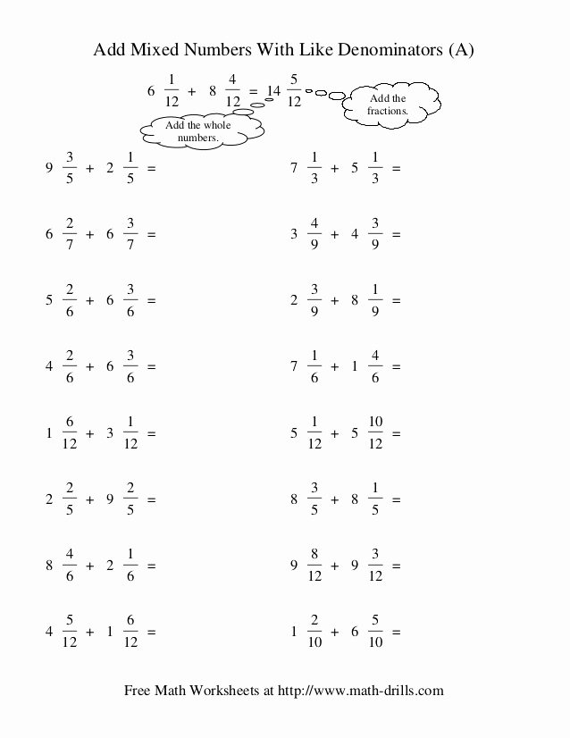 Subtracting Mixed Numbers Worksheet or Adding Mixed Numbers