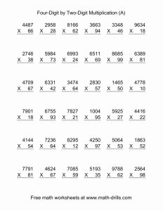 Worksheets More Multiplication Practice 1 Digit by 2 Digit Numbers 2 Of Multiplying Four Digit by Two Digit 36 Per Page A