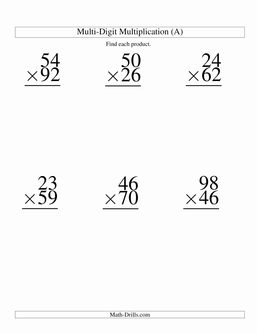 Worksheets More Multiplication Practice 1 Digit by 2 Digit Numbers 2 Of Multiplying Two Digit by Two Digit 6 Per Page A