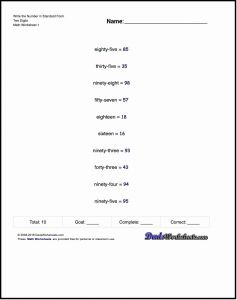 Writing Numbers In Standard form Worksheets or Practice Worksheets for Converting Numbers From Written