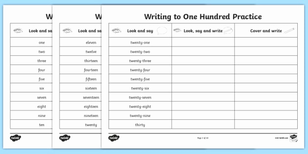 Writing Numbers In Words Worksheets then Number Words E to A Hundred Writing Practice Worksheets