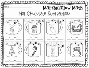 Christmas Addition Worksheets for Kindergarten then Christmas Addition and Subtraction Marshmallow Math
