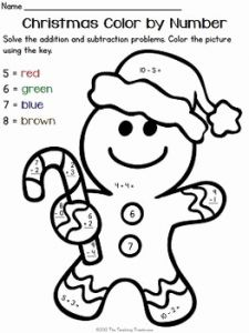 Christmas Math Worksheets Addition Color by Number Of Free Christmas Color by Number Addition & Subtraction