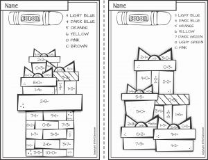 Christmas Math Worksheets Addition Color by Number Of Free Christmas Color by Number Addition within 10