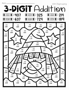 Christmas Math Worksheets Addition Color by Number or Halloween Three Digit Addition Color by Number with and
