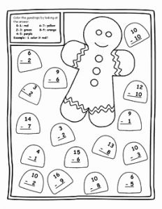 Christmas Math Worksheets Addition Color by Number then Gingerbread Math Centers Christmas Color by Number