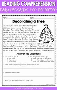 Christmas Reading Worksheets 2nd Grade Of Enreading