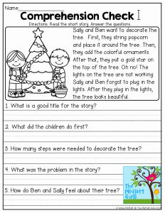 Christmas Reading Worksheets 2nd Grade Of Prehension Check and tons Of Other Great Resources