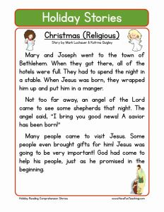 Christmas Reading Worksheets 2nd Grade then Christian Christmas Reading Prehension Worksheet