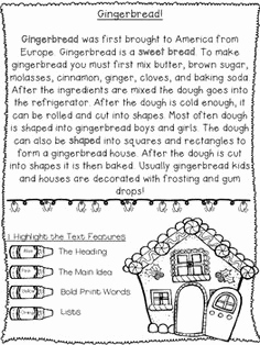 Christmas Reading Worksheets First Grade and 1st 2nd 3rd Holiday Non Fiction Christmas Reading