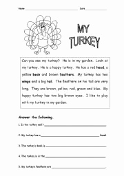 Christmas Vocabulary Worksheets Reading Comprehension and Christmas or Thanks Giving Turkey Reading Prehension