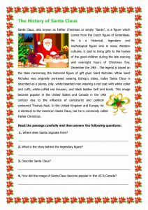 Christmas Vocabulary Worksheets Reading Comprehension and the History Of Santa Claus Worksheet Free Esl Printable