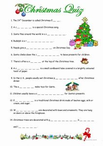 Free Printable Christmas Worksheets Of A Christmas Quiz Worksheet Free Esl Printable Worksheets