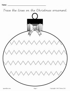 Free Printable Christmas Worksheets then Free Printable Christmas ornament Line Tracing Worksheets