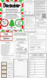 Reading Worksheets Christmas 2 and Literacy Centers 3rd 4th 5th Grade