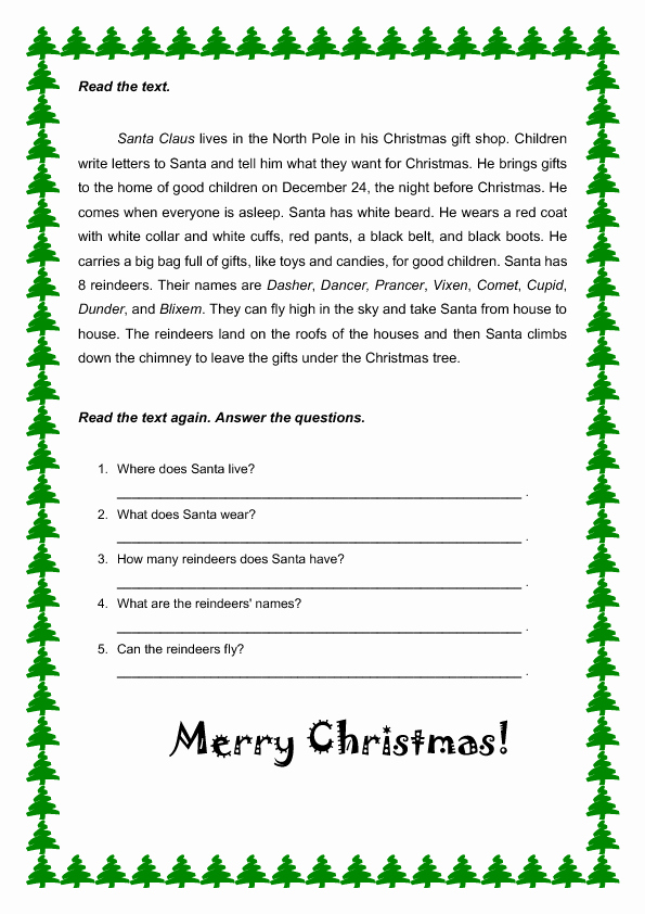 Reading Worksheets Christmas 2 or Christmas Reading