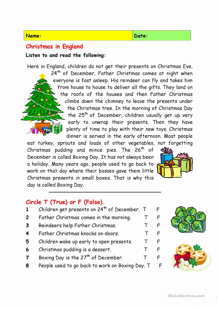 Reading Worksheets Christmas or Christmas In England Worksheet Free Esl Printable