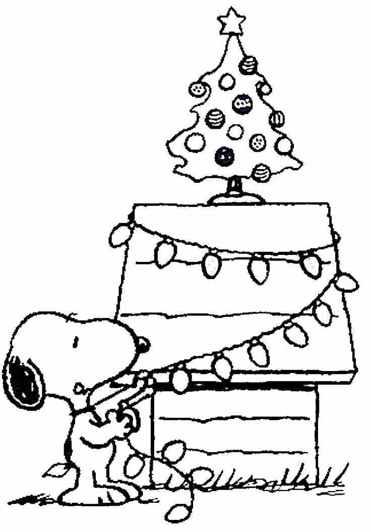 Snoopy Christmas Coloring Pages for Cartoon Lovers or Free Printable Charlie Brown Christmas Coloring Pages for