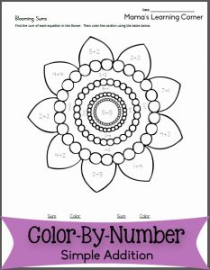 Addition Color by Number or Blooming Sums Color by Number Addition Mamas Learning